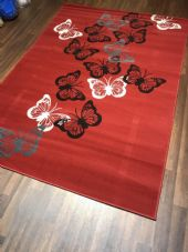 Modern Approx 8x5ft 160x230cm Woven Backed Butterfly RUGS Reds/Creams BARGAINS